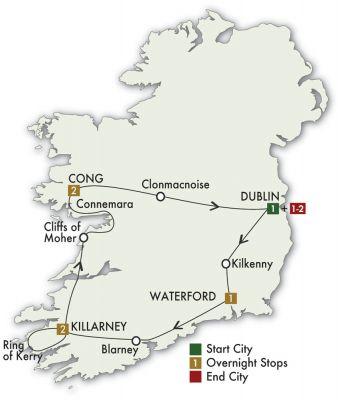 Map for Irish Spirit - Dublin/Dublin 2019 (8 days)