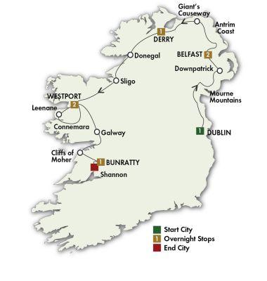 Map for Mystical Ireland - Dublin/Shannon 2020 (8 Days)