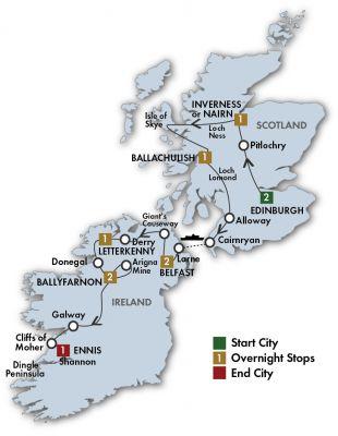 Map for The Scots Irish Tour - Edinburgh/Shannon 2020 (11 Days)