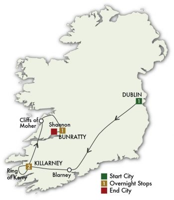 Map for Taste of Ireland - Dublin/Shannon 2019 (5 days)