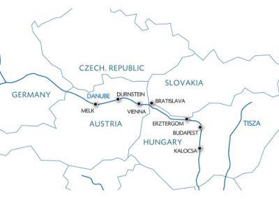 Map for Biking along the Danube