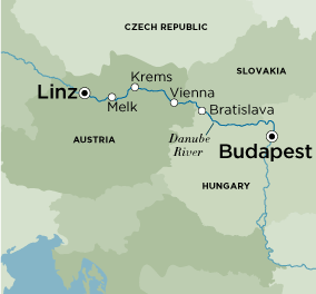 Map for Magnificent Christmas Markets (Budapest to Passau)