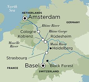 Map for Legendary Rhine (Basel to Amsterdam)