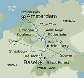 Map for Splendors of the Rhine (Amsterdam to Basel)