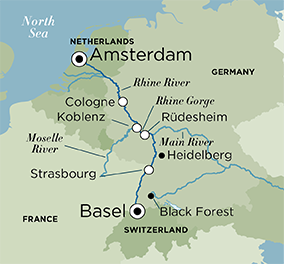Map for Christmas Time on the Rhine (Basel to Amsterdam)
