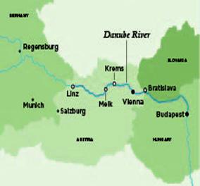 Map for Danube Serenade (Vienna (Wien) to Budapest)