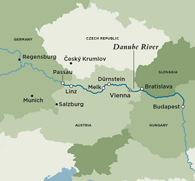 Map for Treasures of the Danube (Round Trip)