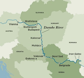 Map for Eastern Danube Discoveries (Round Trip)