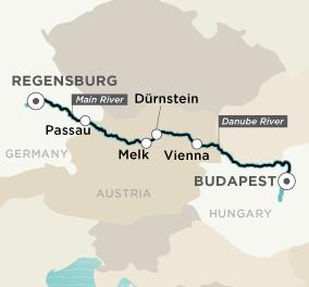 Map for Delightful Danube (Budapest to Regensburg)