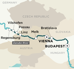 Map for Festive Danube (Vienna (Wien) to Budapest)