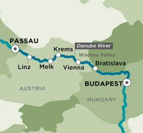 Map for Wonders of the Danube (Passau to Budapest)