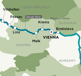 Map for Danube Christmas Markets (Round Trip)