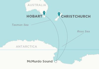 Map for Antarctica & The Ross Sea Expedition (Hobart/Tasmania to Christchurch/Lyttleton)