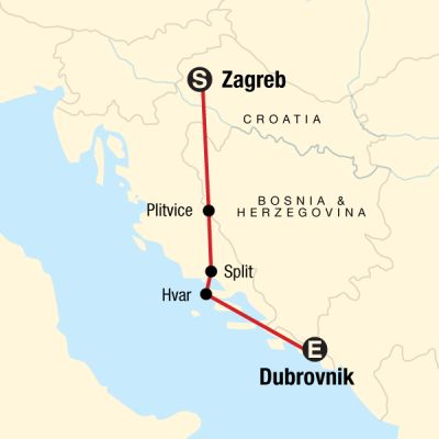 Map for Croatia Adventure–Zagreb to Dubrovnik
