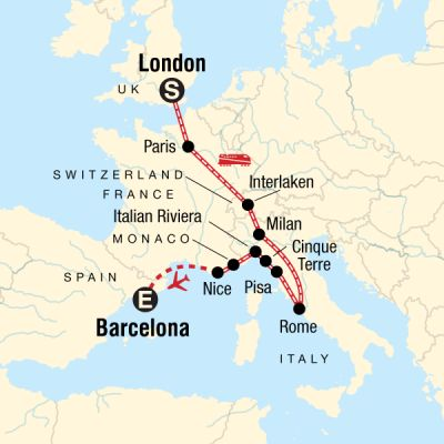 Map for London to Barcelona on a Shoestring