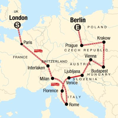 Map for London to Berlin on a Shoestring
