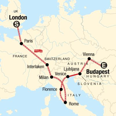 Map for London to Budapest on a Shoestring