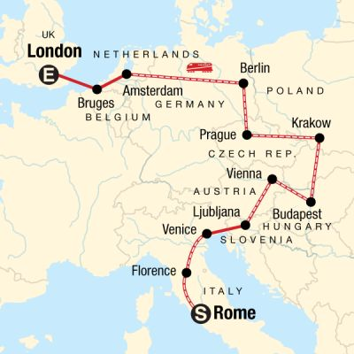 Map for Rome to London on a Shoestring