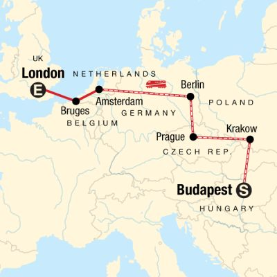 Map for Budapest to London on a Shoestring