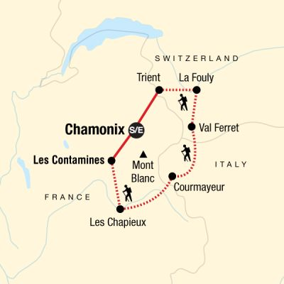 Map for Trekking Mont Blanc