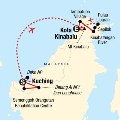 Map for Sarawak, Sabah and Trekking Kinabalu