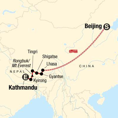Map for Tibet Adventure