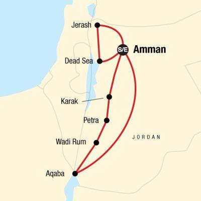 Map for Highlights of Jordan