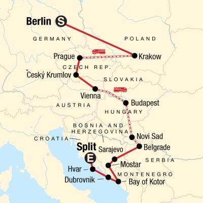 Map for Eastern Europe, Croatia & the Balkans