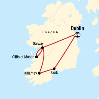Map for Highlights of Ireland