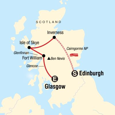 Map for Highlights of Scotland