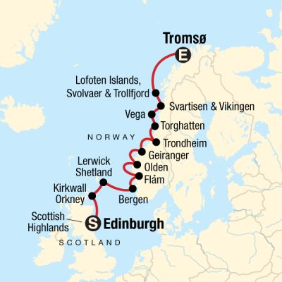 Map for Edinburgh, Scottish Islands & Norwegian Fjords - Edinburgh to Tromsø