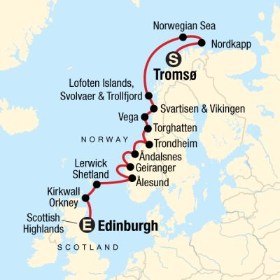 Map for Cruise the Norwegian Fjords & Scottish Islands In Depth – Tromsø to Edinburgh