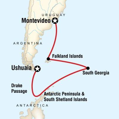 Map for Falklands, South Georgia & Antarctica
