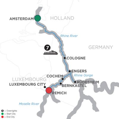 Map for Canals, Vineyards & Castles – Southbound 2019 - 8 days Amsterdam to Remich