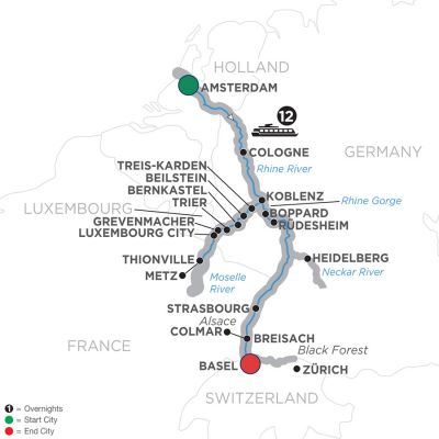 Map for The Rhine & Moselle – Southbound 2019 - 13 days Amsterdam to Basel