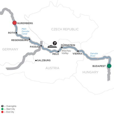Map for The Blue Danube Discovery – Cruise Only 2019 - 8 days Budapest to Nuremberg