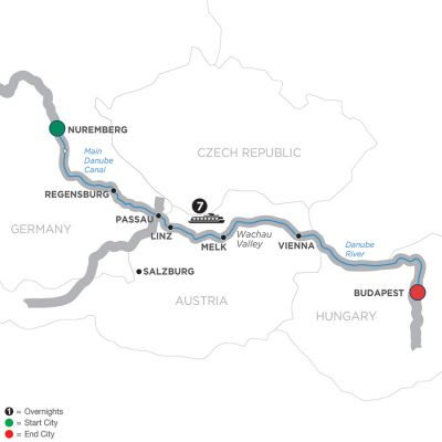 Map for The Legendary Danube – Cruise Only 2019 - 8 days Nuremberg to Budapest