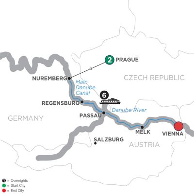 Map for Christmastime on the Danube – Eastbound 2019 - 9 days Prague to Vienna