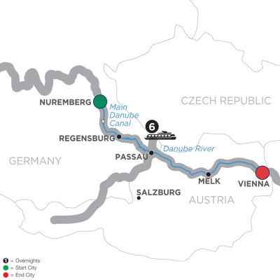 Map for Christmastime on the Danube – Cruise Only Eastbound 2019 - 7 days Nuremberg to Vienna