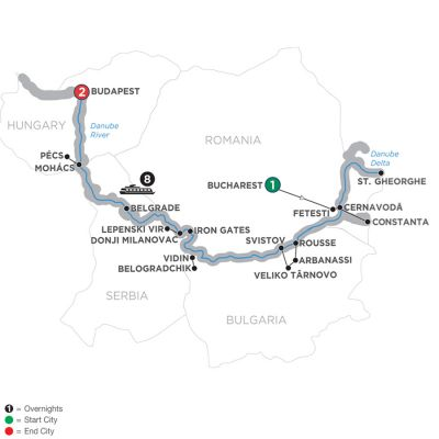 Map for The Danube from the Black Sea to Budapest – Westbound 2019 - 12 days Bucharest to Budapest