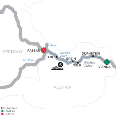 Map for Danube Symphony – Cruise Only Westbound 2019 - 6 days Vienna to Passau