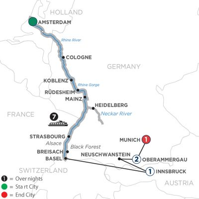 Map for Romantic Rhine with Oberammergau 2020 - 12 Days Amsterdam to Munich