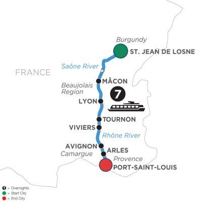 Map for Burgundy & Provence (Southbound) 2020 - 8 days St. Jean-de-Losne to Port-Saint-Louis