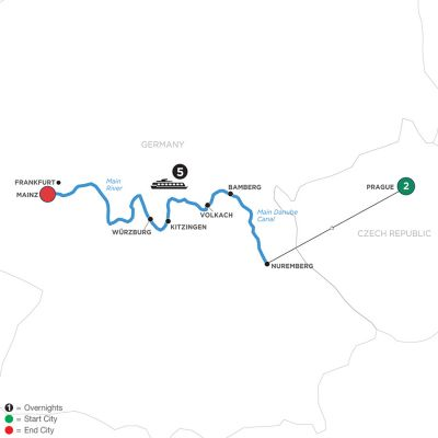 Map for The Heart of Germany with 2 Nights in Prague (Westbound) 2020 - 8 days Prague to Mainz