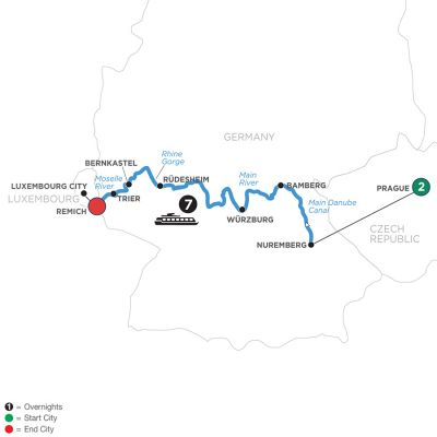 Map for Central European Experience with 2 Nights in Prague (Westbound) 2020 - 10 days Prague to Remich