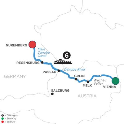 Map for Christmastime on the Danube (Westbound) 2020 - 7 days Vienna to Nuremberg