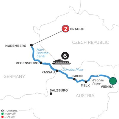Map for Christmastime on the Danube with 2 Nights in Prague (Westbound) 2020 - 9 days Vienna to Prague