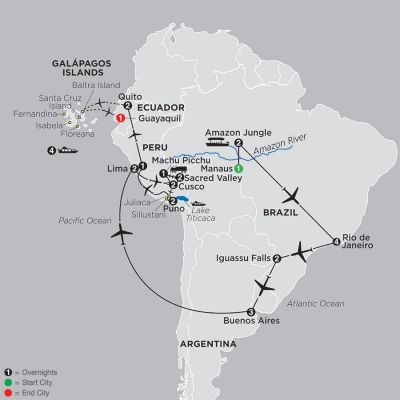 Map for Ultimate South America with Brazil's Amazon & Galapagos Cruise 2019 - 30 days from Manaus to Guayaquil