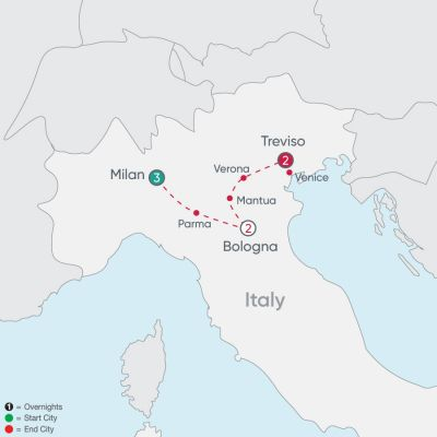 Map for Northern Italy Explorer 2019 - 8 days from Milan to Treviso