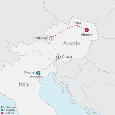 Map for Veneto to Vienna Explorer 2019 - 8 days from Treviso to Vienna